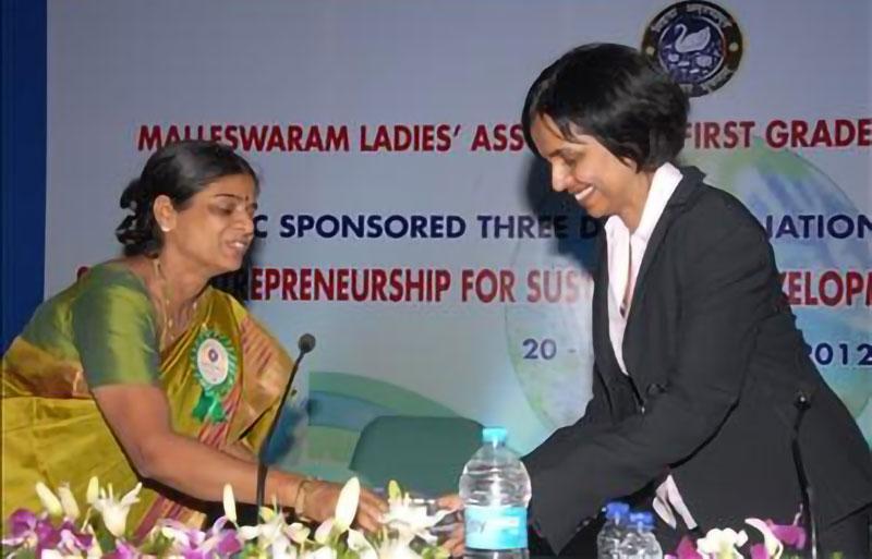 Aruna Chandra (right) at the Bangalore Conference