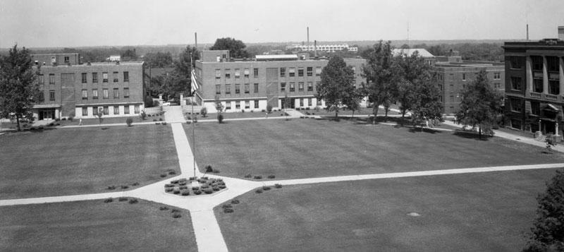 Gillum and Dreiser Halls, July 1956