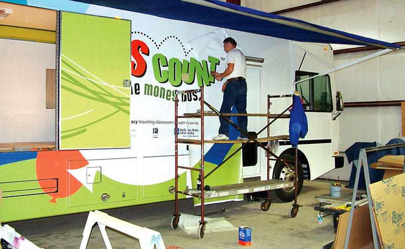 The Money Bus being prepared in 2006