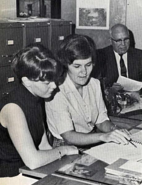 Paul Muse and student secretaries, 1969