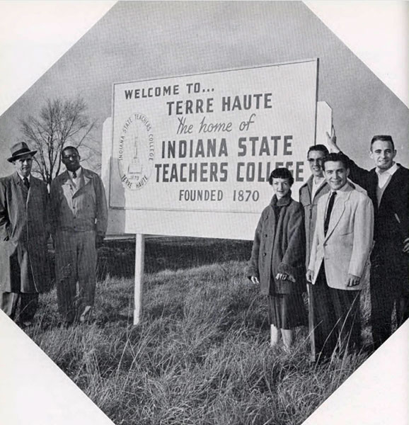 Indiana State Teachers College sign, 1956