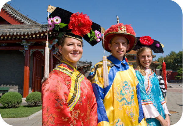 NFI scholars Kelsey Powell, Andrew Schroeder and Allison Myers in China, 2008