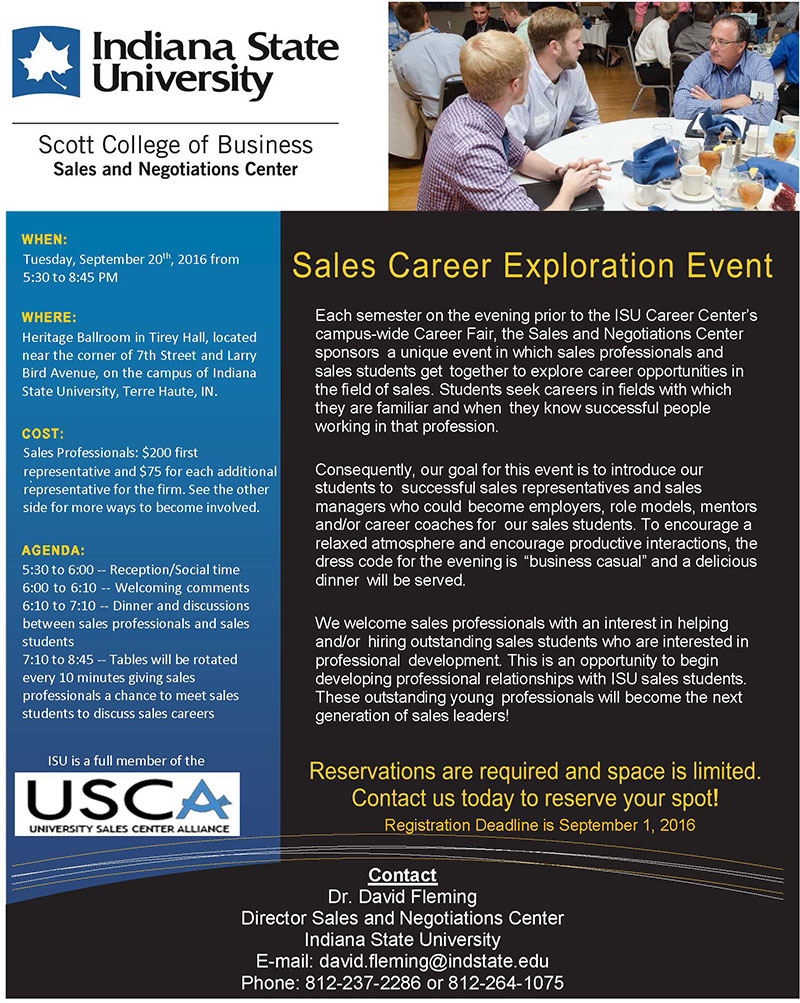 Sales Career Exploration Event Flyer Fall 2016 page 1