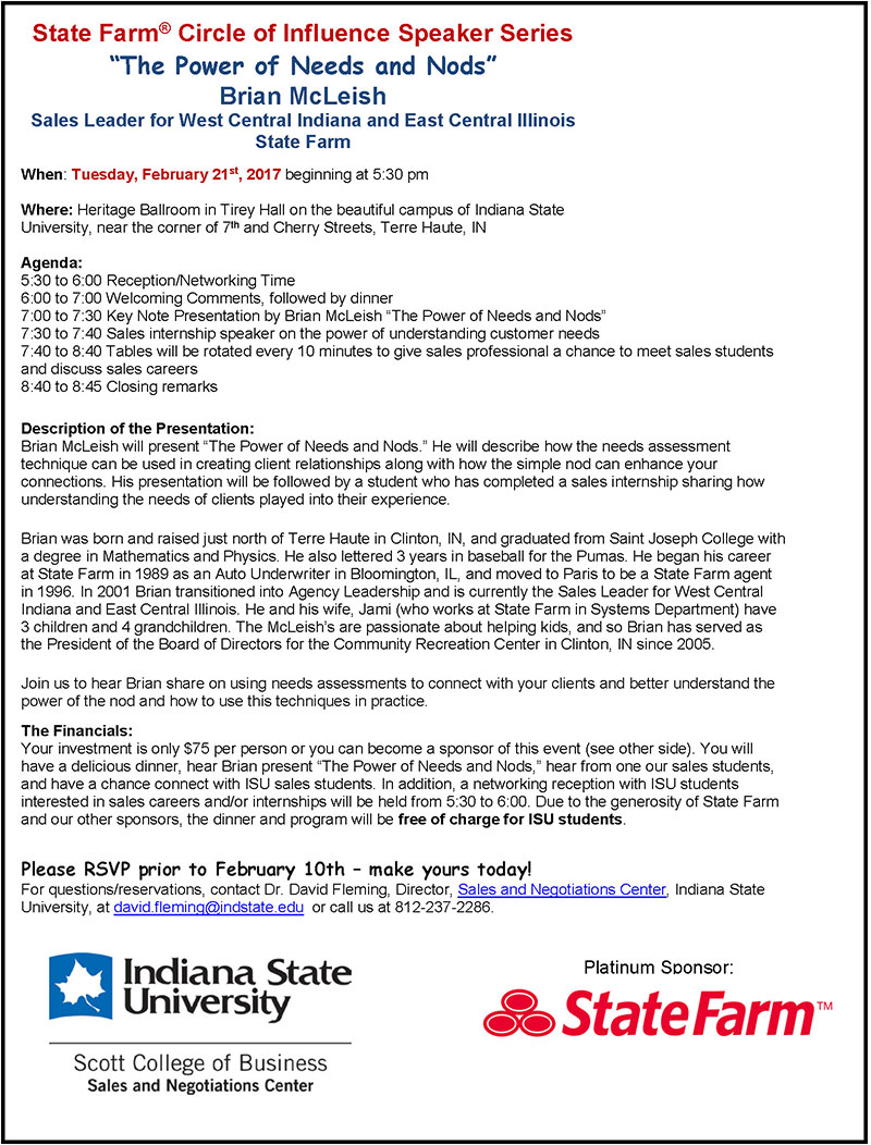 State Farm Circle of Influence 2017 - Brian McLeish Flyer