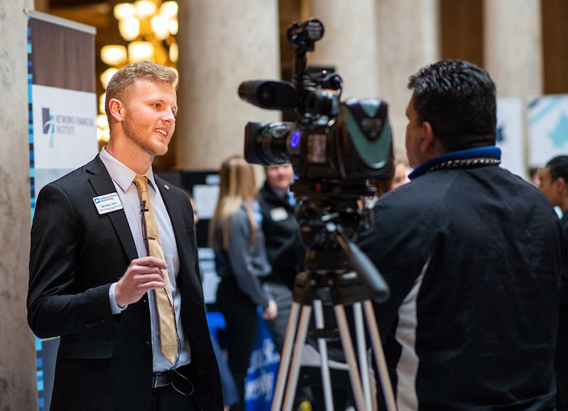 Student Zachary Holt from the Scott College of Business is interviewed by WTHI