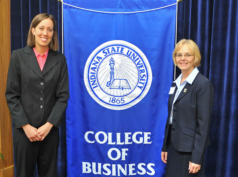 Laura Rudolphi (left) with Nancy Merritt, dean of Indiana State University's College of Business
