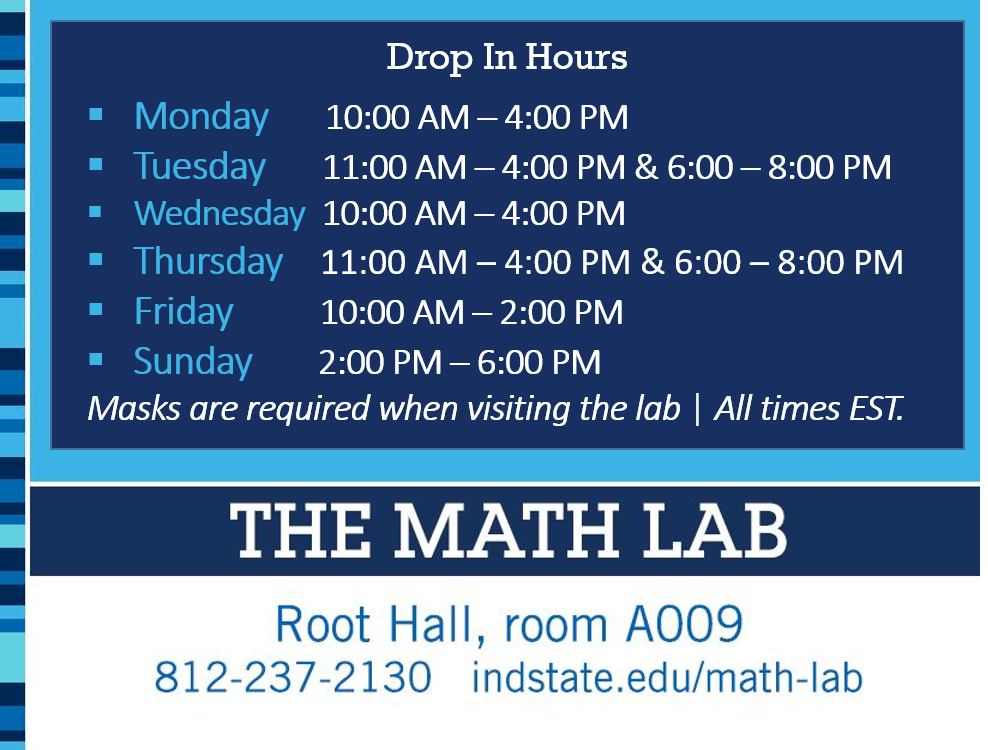 Fall 2021 Math Lab Hours (as listed in the table above)
