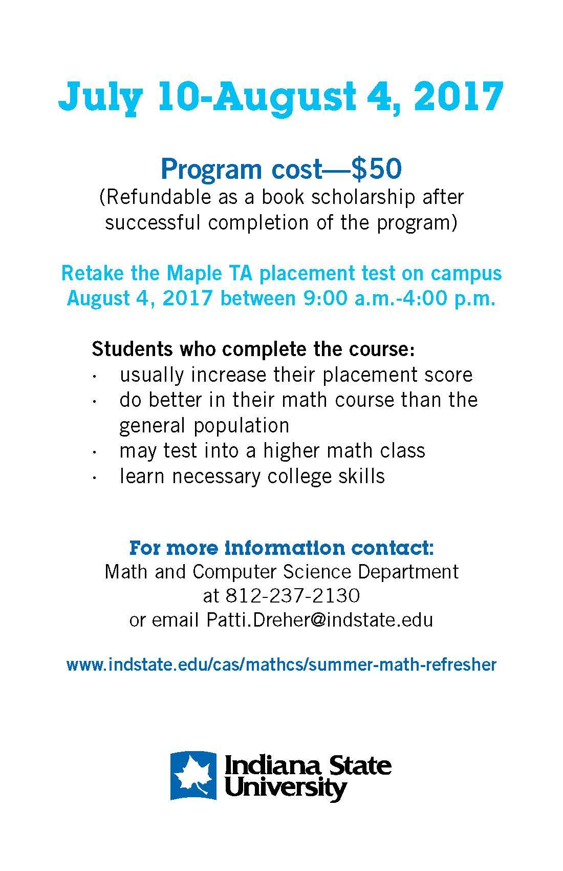 Summer Math Refresher Handbill