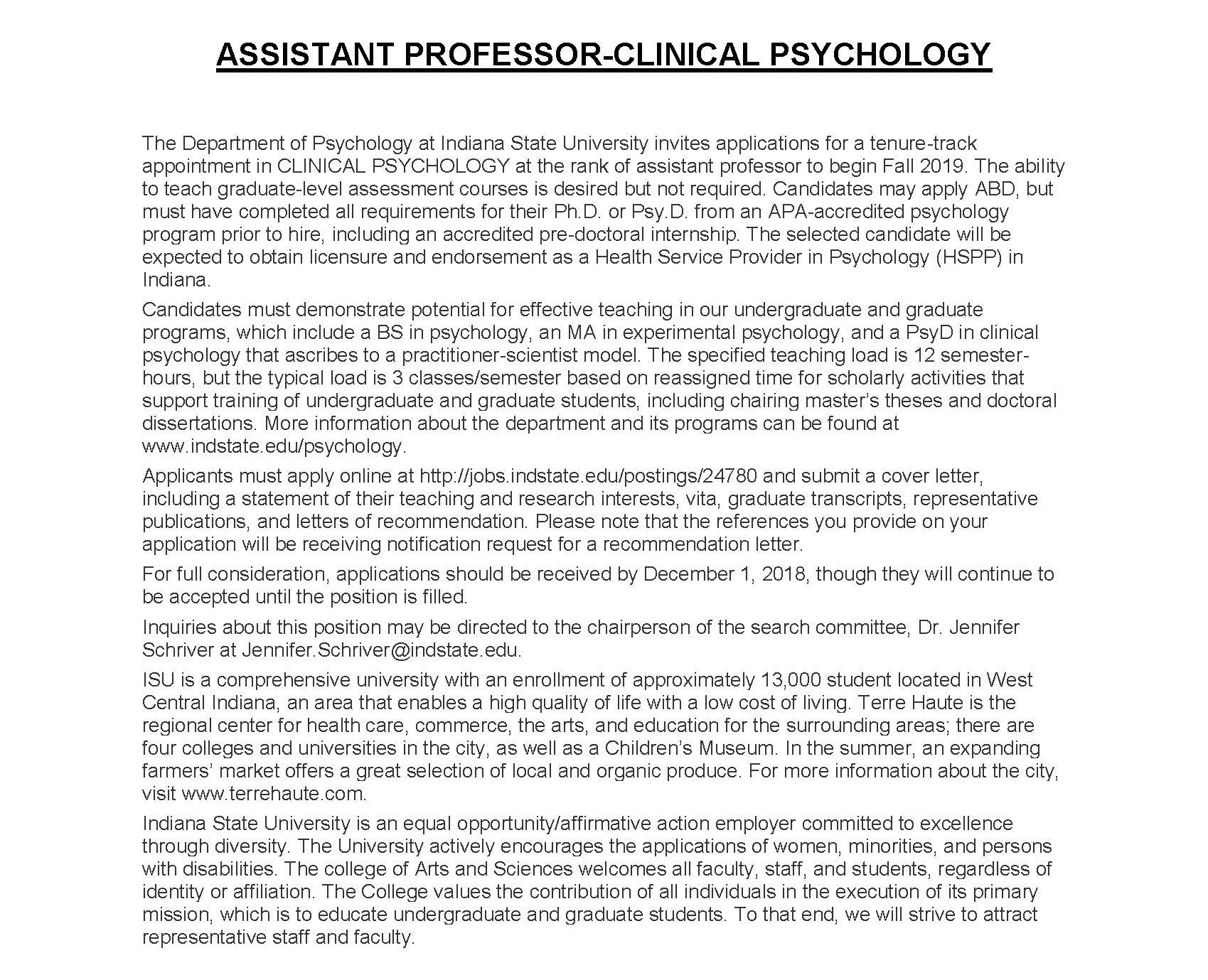 Asst Prof Clinical ad