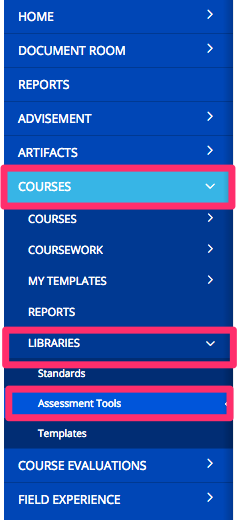 Assessment Checkout Menu