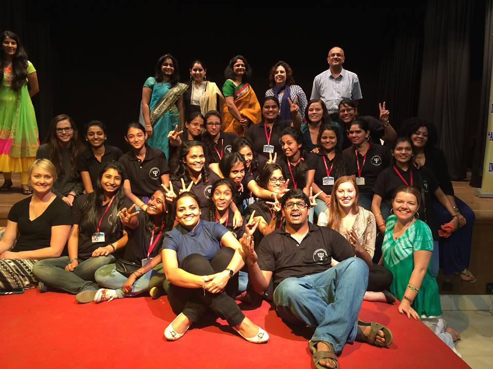 Dr. Tucker and counseling students with NK College students, Mumbai, India, 2014