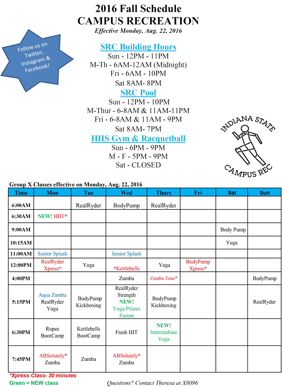 SRC Fall Schedule 2016 vs C