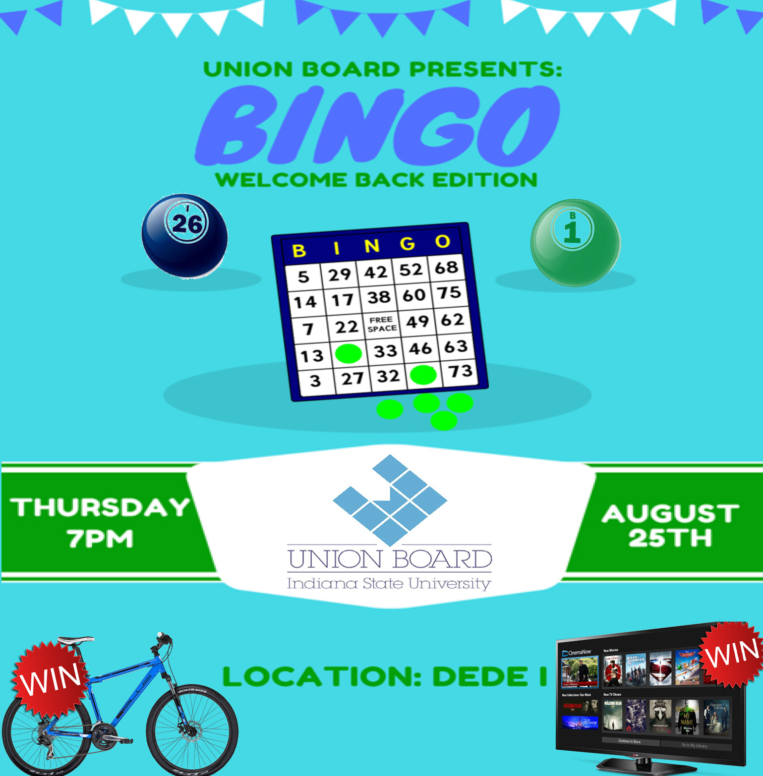 Welcome Back Bingo sponsored by Union Board