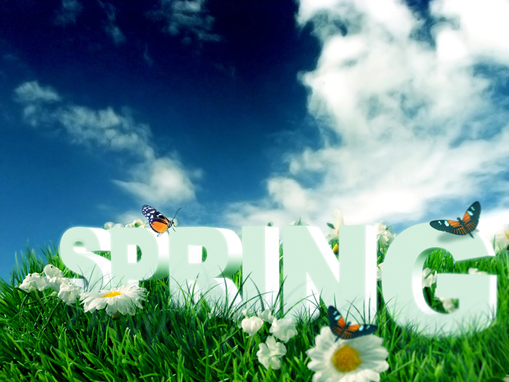 Spring lettering with clouds