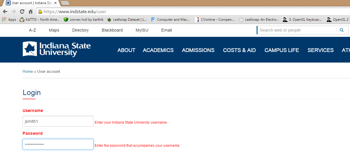 Login in to Drupal | Indiana State University