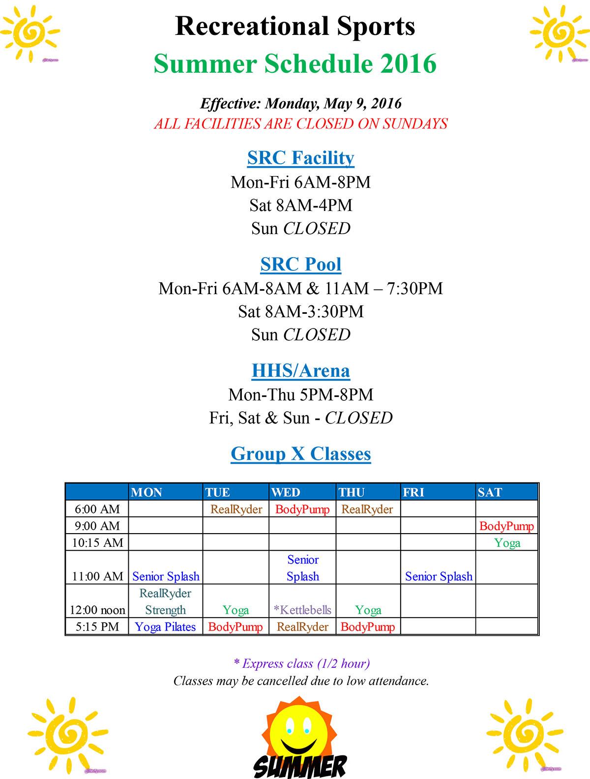 Summer Schedule 2016 Rec Sports