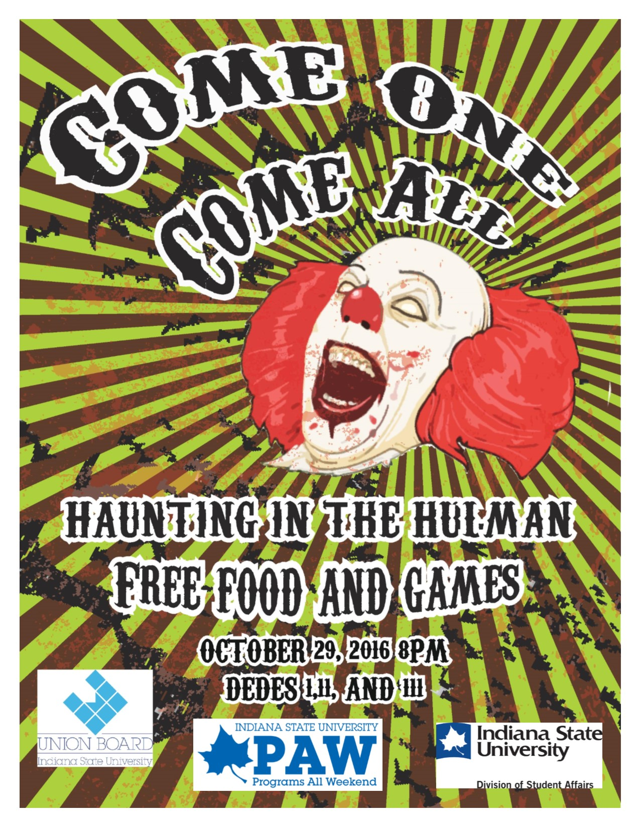 Haunted House Flyer sponsored by Union Board and PAW