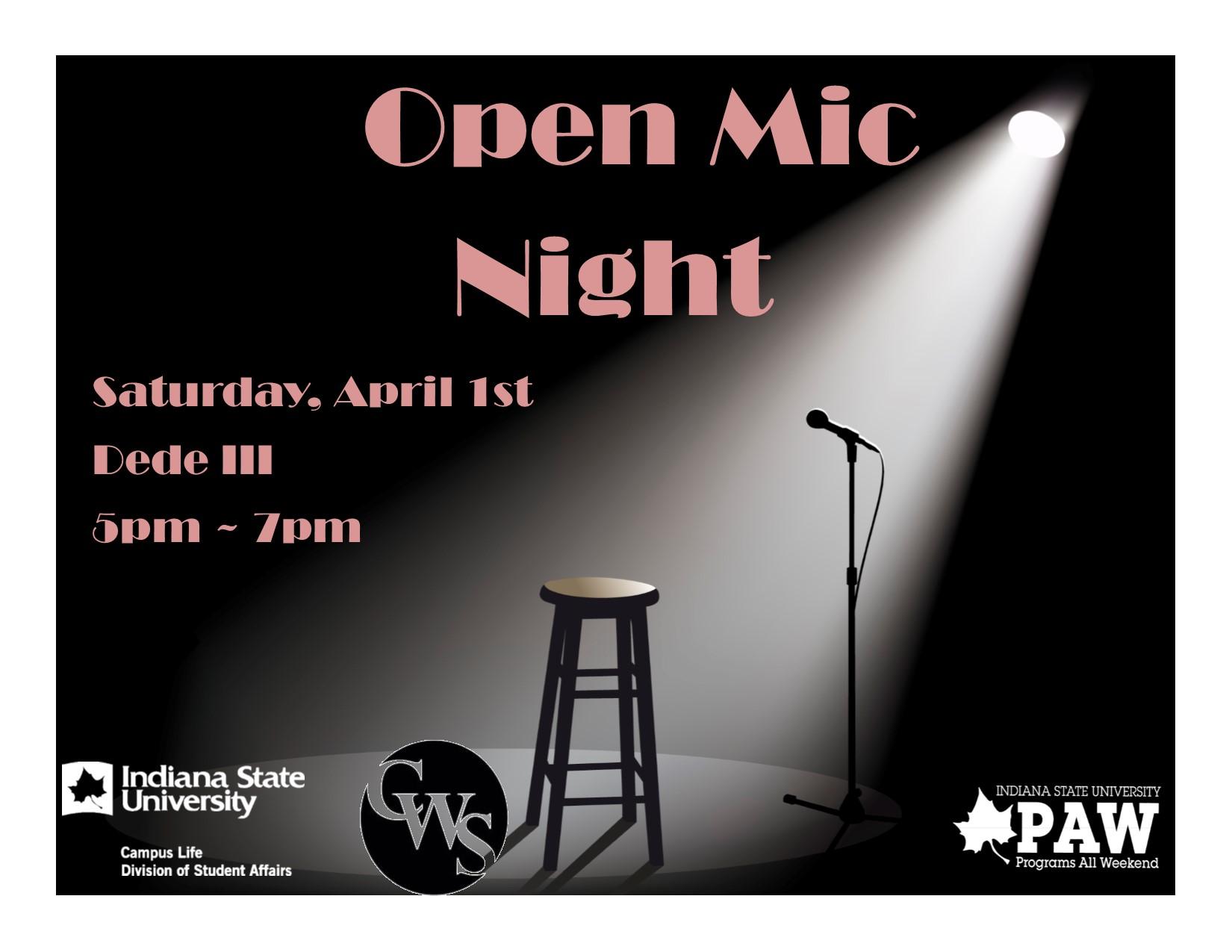 Open Mic Night sponsored by PAW