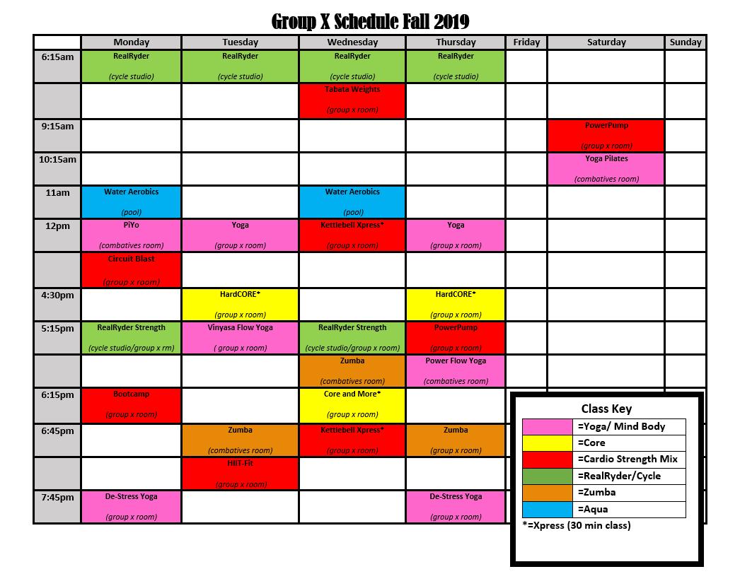 Campus Rec Fall 2019 GroupX Schedule B