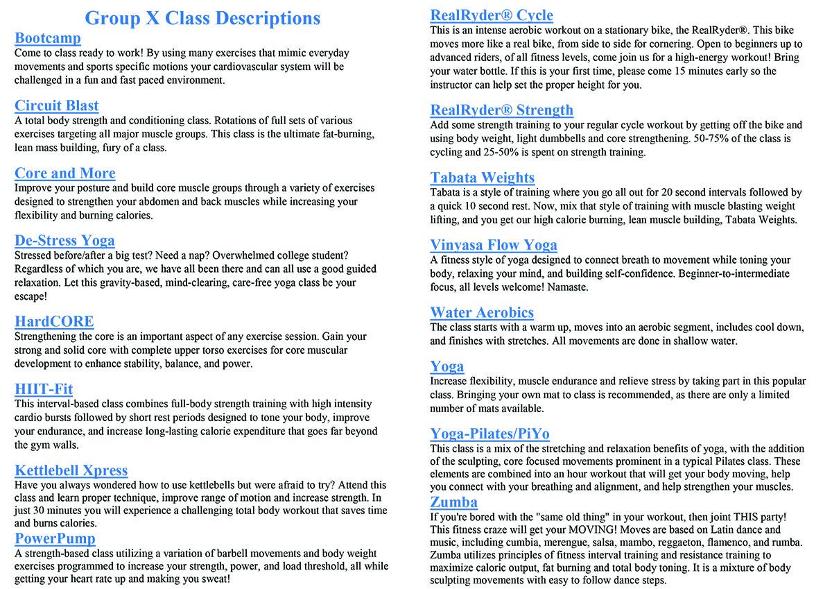 GroupX Class Descriptions Fall 2019-2