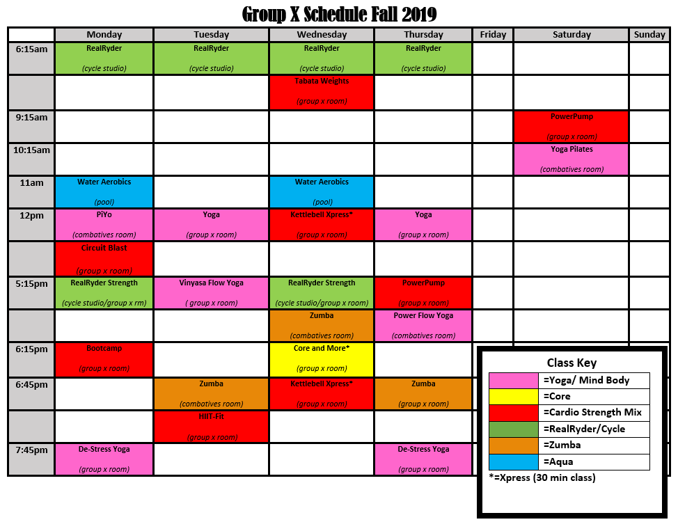 GroupX Schedule Updated 10Oct2019 No Hardcore Xpress