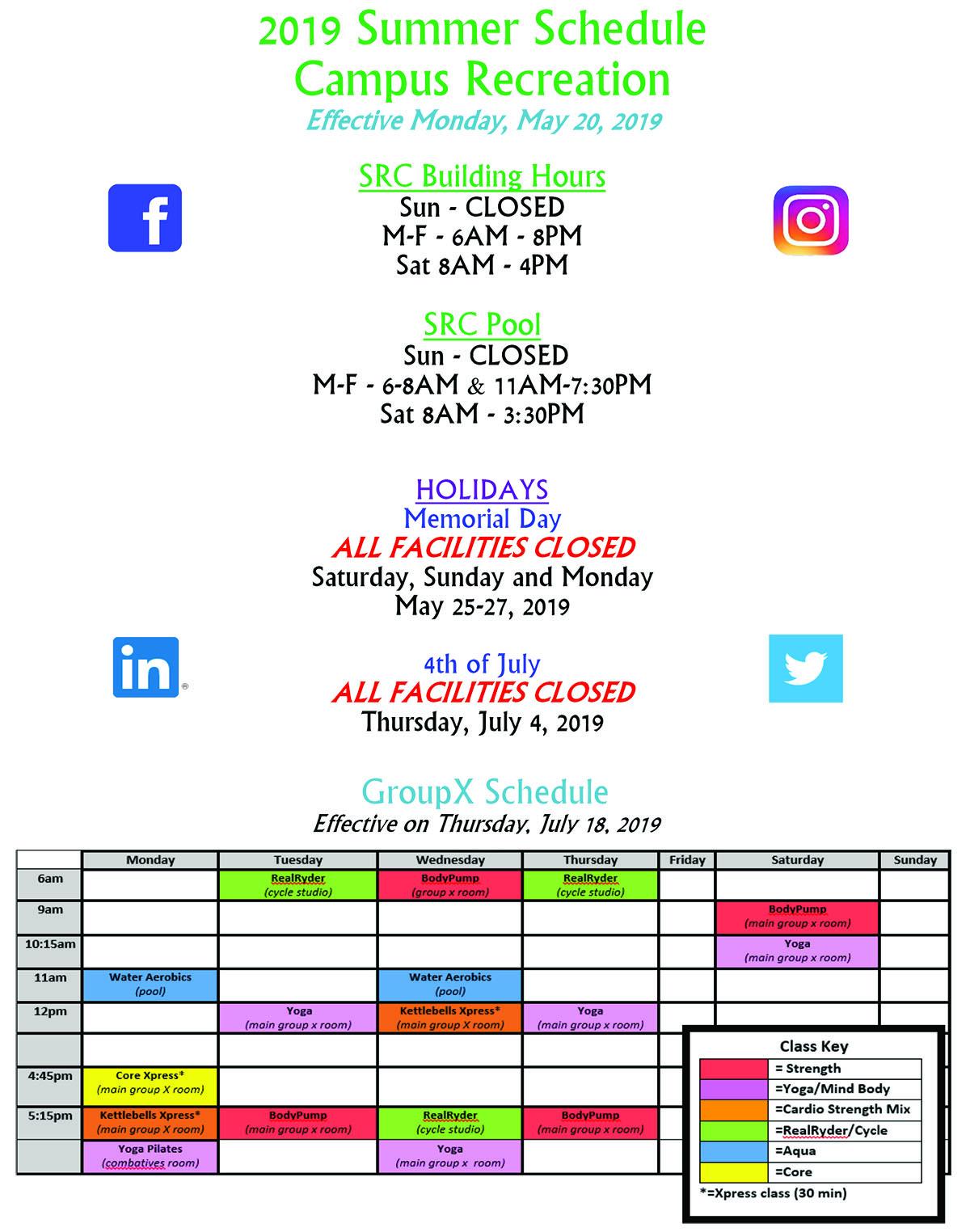 Campus Rec Summer 2019 Schedule Updated 18 July 2019
