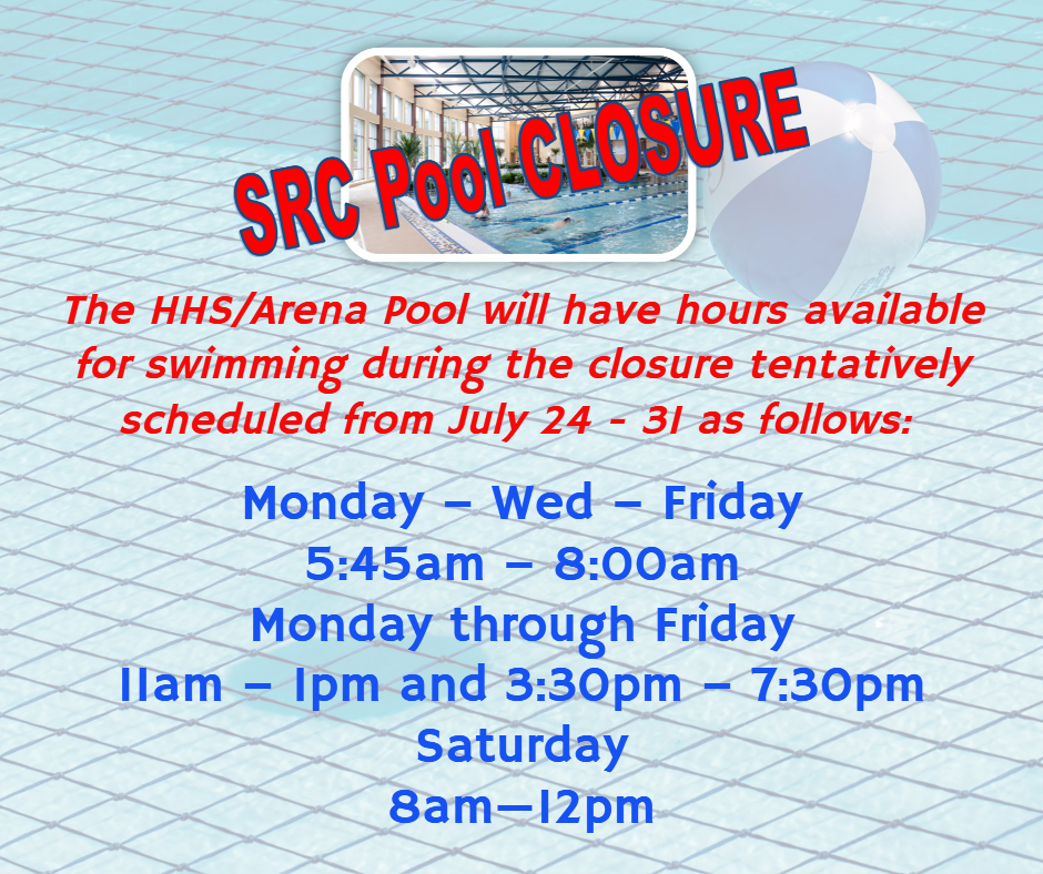 Arena Pool hours during SRC Pool closure July 2017