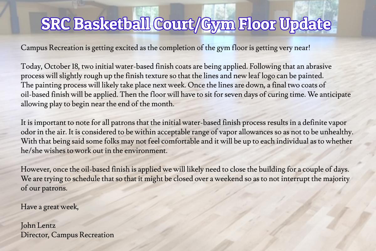 Basketball Court Gym Floor Update Oct 2018
