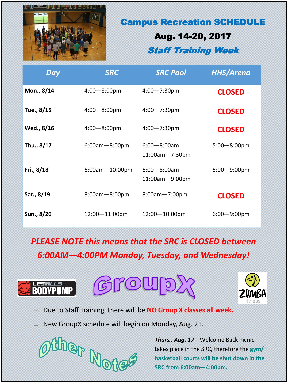 Campus Rec Training Week Schedule Aug 14-20 2017