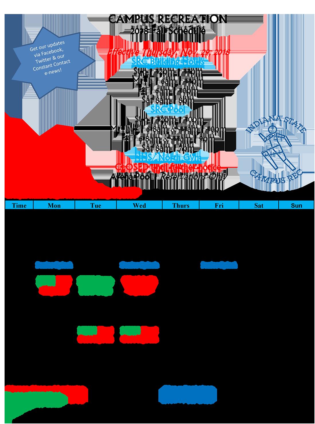 Campus Rec Fall 2018 Schedule update 29Nov2018