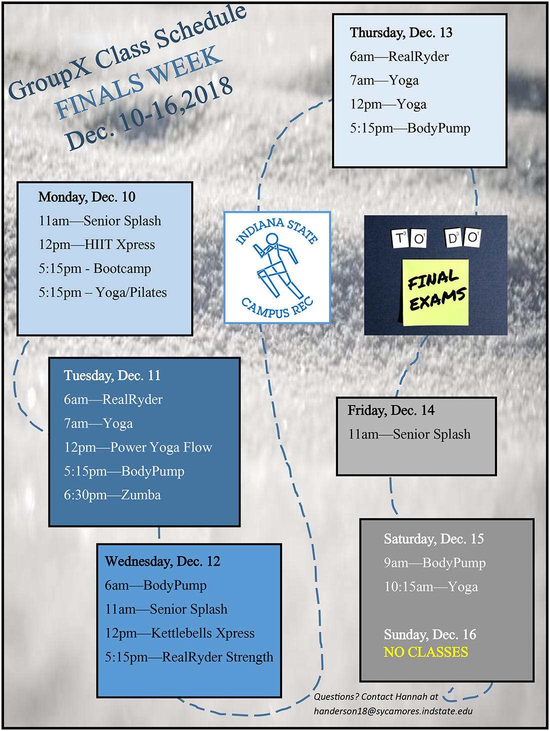 GroupX class schedule Finals Week Dec 10-16 2018