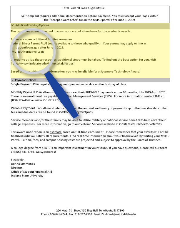 Decode Your Financial Aid Notification Packet | Indiana