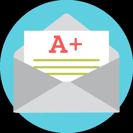 grade in envelope icon