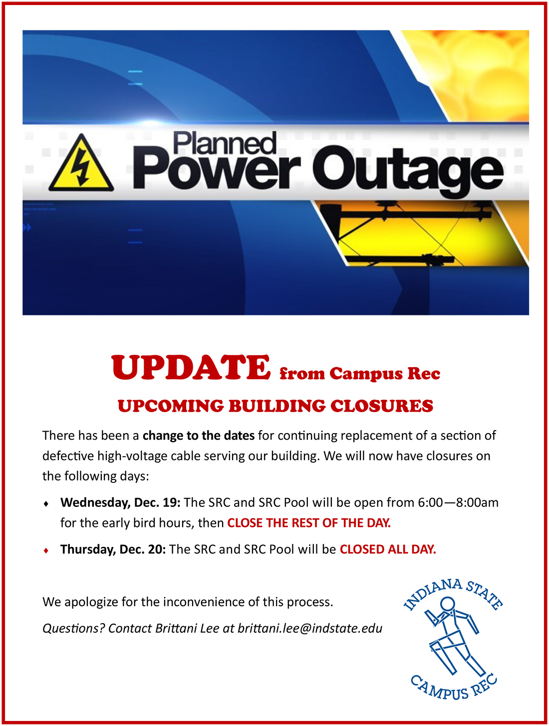 Power outages in Campus Rec UPDATE Dec 2018