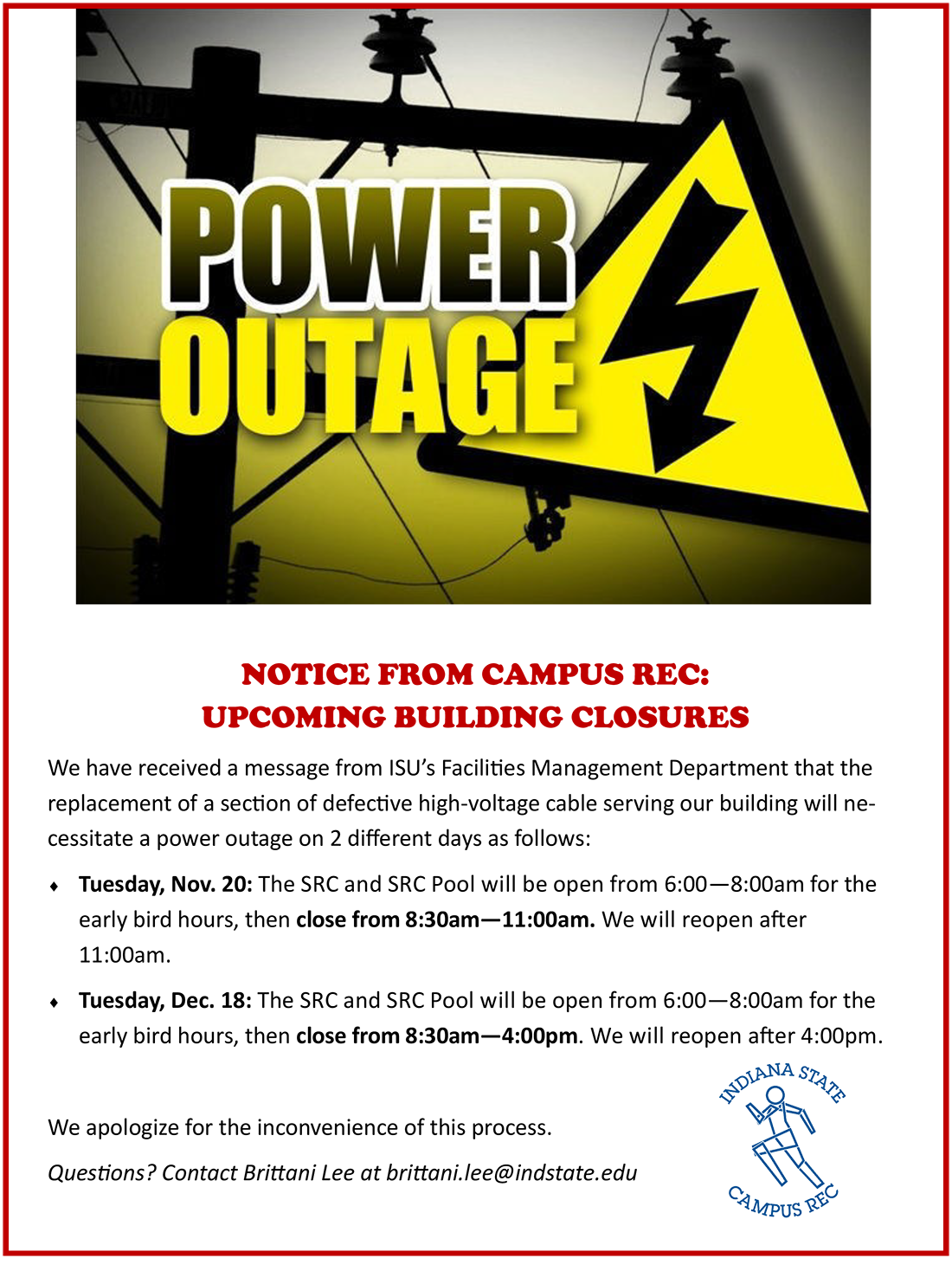 Power Outages in Campus Recreation Nov-Dec2018