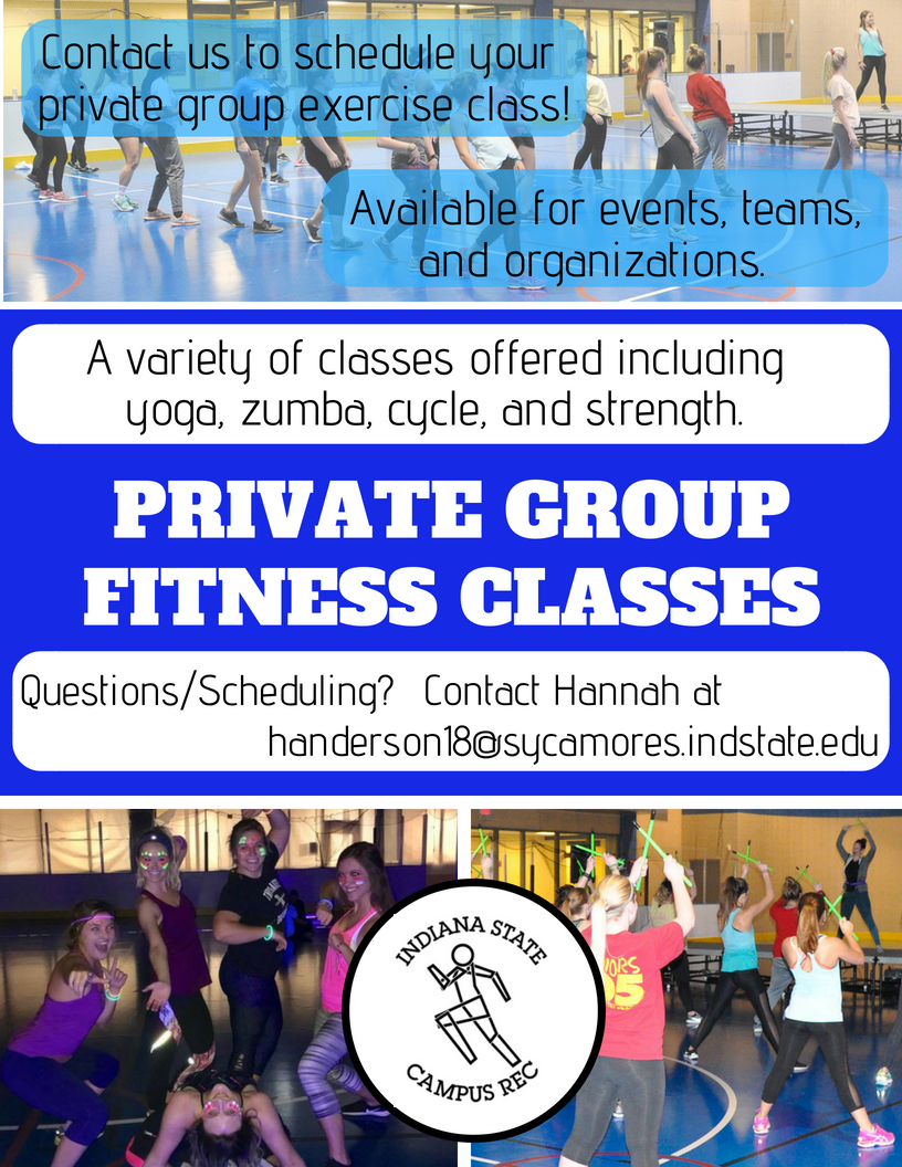 Campus Rec Private Group Fitness classes Aug 2018