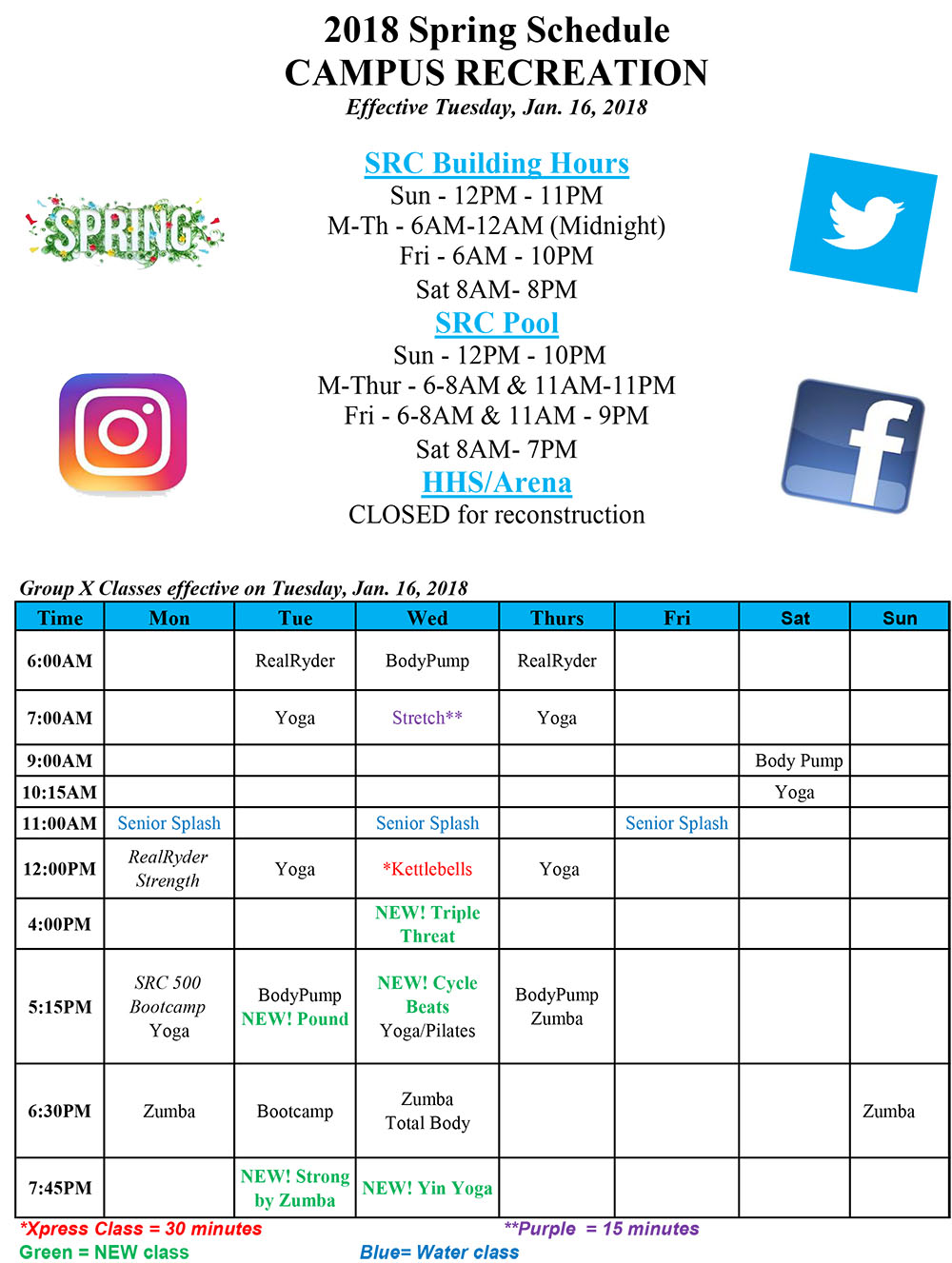 Spring 2018 Building Schedule