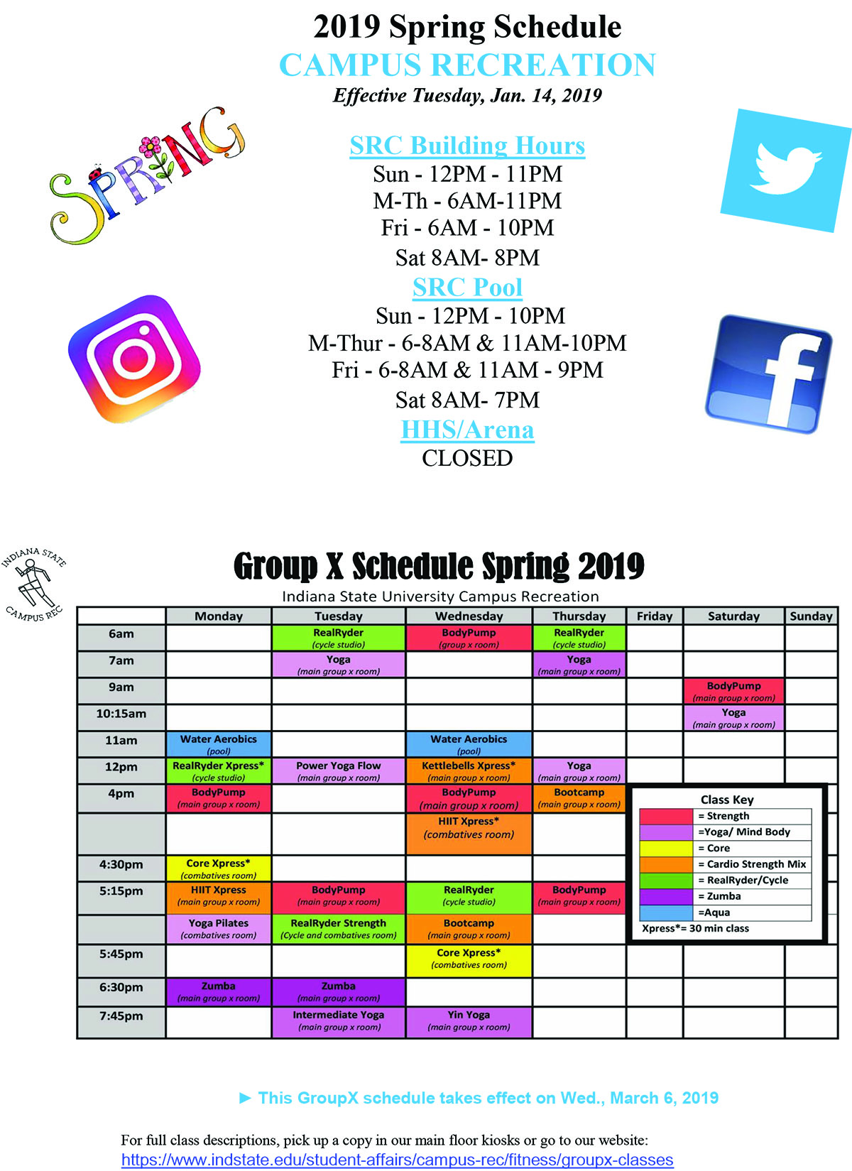 Spring 2019 Schedule March 6 udpate for GroupX