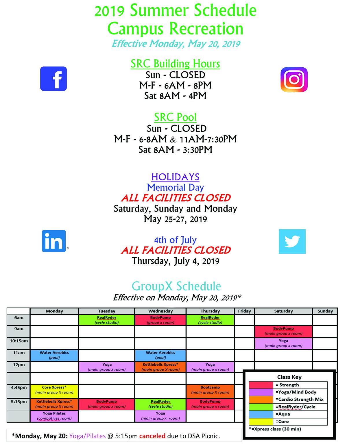 Campus Rec Summer 2019 Schedule