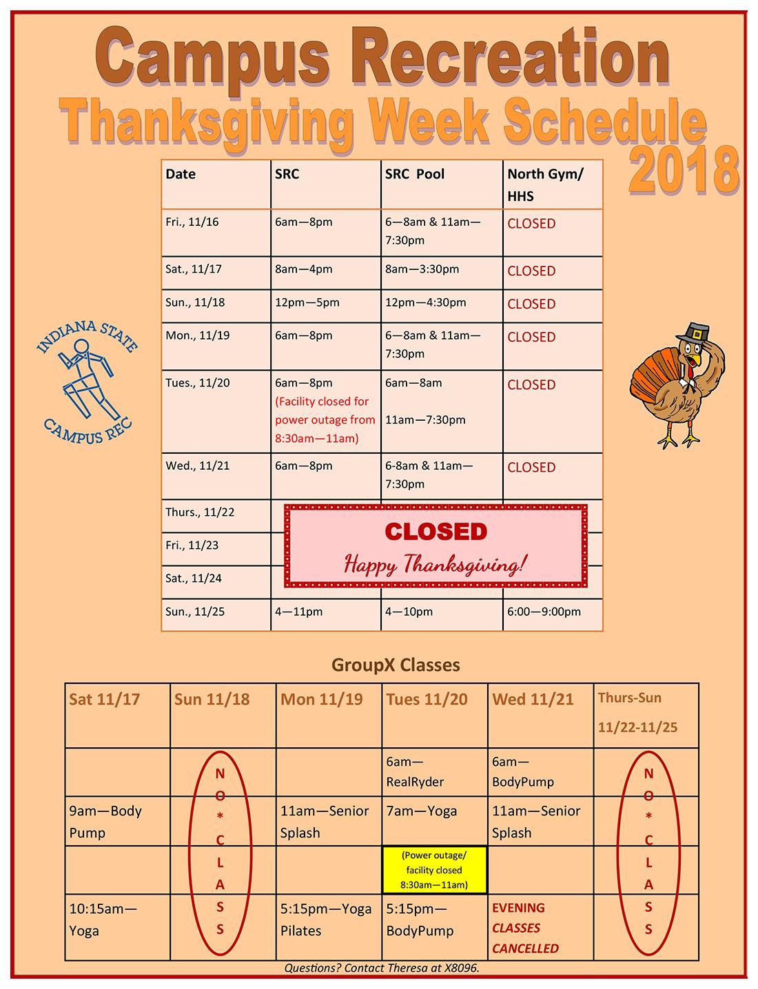Campus Rec Thanksgiving 2018 Schedule