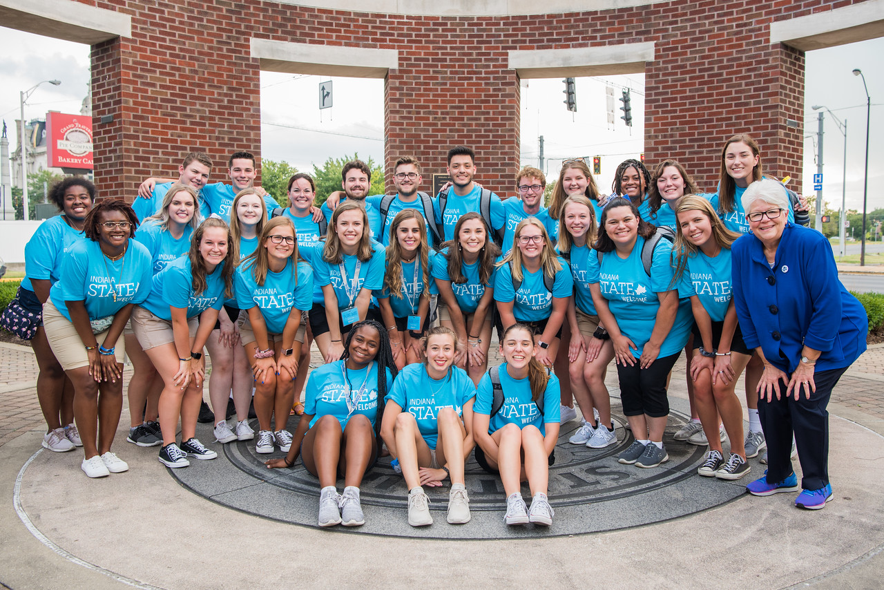 several student leaders gathered in the Arch at Oakley Place for a group photo