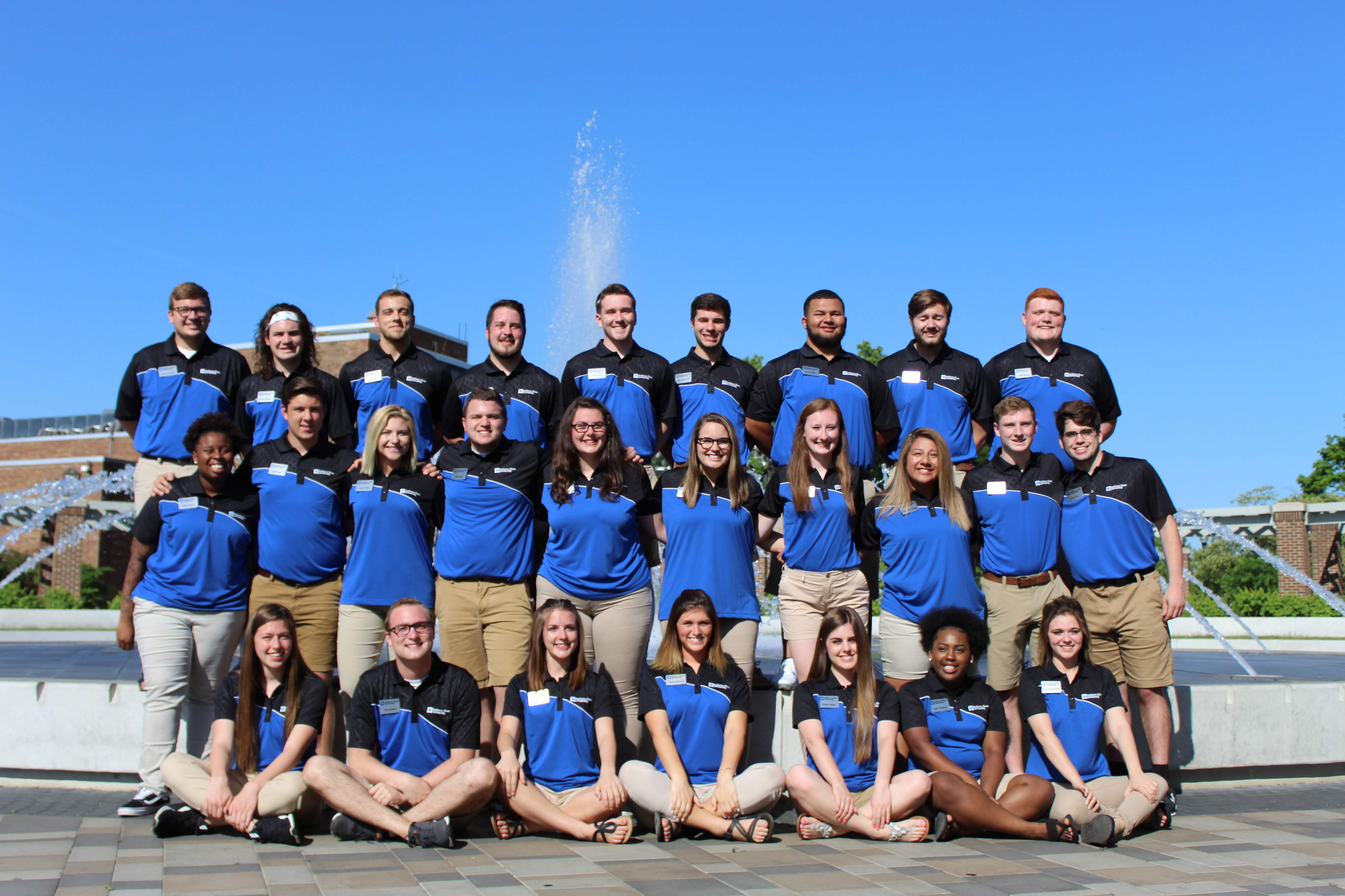 Welcome Team 2018 at the fountain