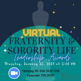 Flyer for 2021 Fraternity and Sorority Life Awards Ceremony