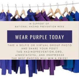 Wear purple for National Hazing Prevention Week