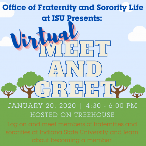 Flyer for January 20 Fraternity and Sorority virtual Meet and Greet