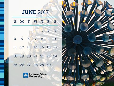 Indiana State University Alumni Association Monthly Desktop Calendar June 2017 Sycamores