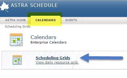 Calendar tab - Scheduling Grid