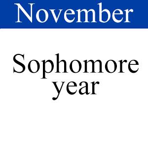 November Sophomore, Path to graduation