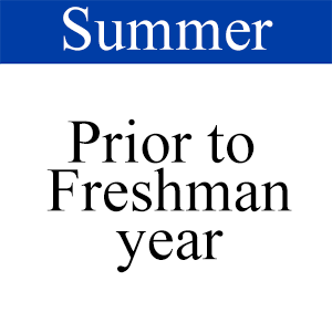 Summer Prior to Freshman year