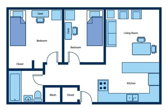 University Apartments 2 Bedroom Floow Plan